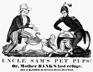 UNCLE SAM CARTOON, 1840. One of the earliest appearances of 'Uncle Sam' shows