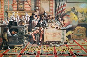UNCLE SAM RANGE AD, 1876. An 1876 American advertising poster for the 'Uncle