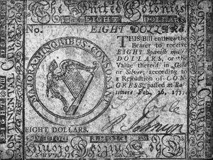 United Colonies Continental Currency eight dollar banknote, 1777.