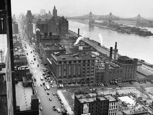 UNITED NATIONS: SITE, 1946. Looking north along First Avenue from Tudor City at 41st Street