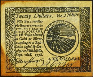 United States Continental Currency twenty dollar banknote, 1778