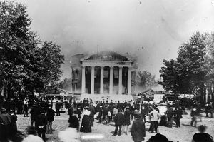 UNIVERSITY OF VIRGINIA. The burning of the Rotunda at the University of Virginia