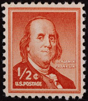 U.S. STAMP: FRANKLIN. American printer, publisher, scientist, inventor, statesman and diplomat