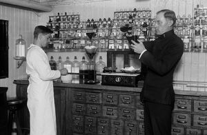 USS COMFORT, c1919. The dispensary aboard the hospital ship 'USS Comfort