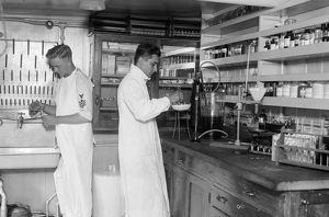 USS COMFORT, c1919. The pathology laboratory aboard the hospital ship 'USS