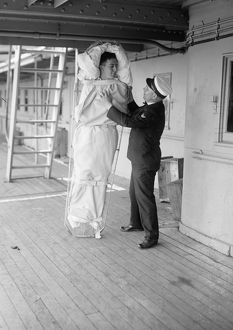 USS COMFORT, c1919. Receiving the sick and wounded aboard the hospital ship 'USS