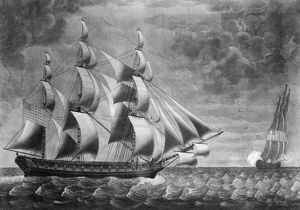 USS CONSTELLATION, 1799. The American frigate USS 'Constellation' bearing down