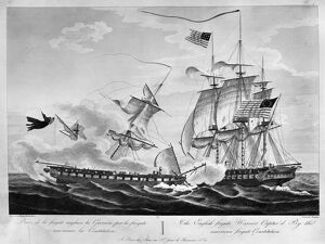 USS CONSTITUTION, 1812. 'The English frigate Warrior captured by the American frigate