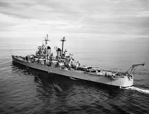 USS Helena,off the Coast of California prior to firing a Reclus I rocket, 1957.