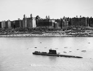 The USS Nautilus, SSN-571, the world's first nuclear submarine, photographed in New York Harbor