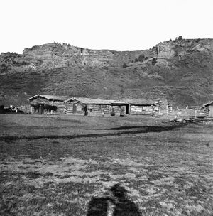 UTAH: LOG CABINS, c1869. Log cabins at the head of Echo Canyon, the contract station