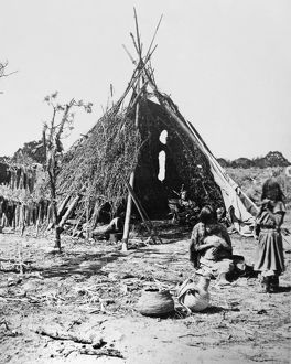 UTE DWELLING, c1873. The Ute chief Tavaputs inside his conical brush dwelling in