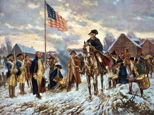 VALLEY FORGE, 1777. General George Washington at Valley Forge, Pennsylvania, 1777