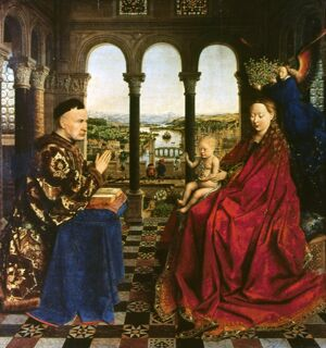 VAN EYCK: VIRGIN AND CHILD. 'The Virgin and Child with Chancellor Rolin