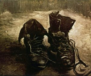VAN GOGH: BOOTS, 1886. Boots with Laces. Oil on canvas, Paris, by Vincent Van Gogh.