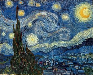 VAN GOGH: STARRY NIGHT. The Starry Night. Oil on canvas by Vincent Van Gogh, 1889.