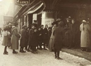 VAUDEVILLE AUDIENCE, 1912. Line of people waiting to see a Vaudeville show at Fall River