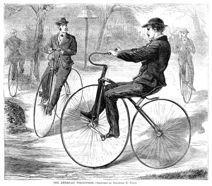 VELOCIPEDES, 1868. American men riding velocipedes. Wood engraving, American, 1868