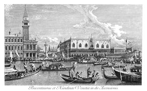 VENICE: BUCINTORO, 1735. The Bucintoro (state barge) returning to the Molo on Ascension
