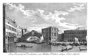 VENICE: GRAND CANAL, 1735. The Grand Canal in Venice, Italy. View of the Rialto Bridge