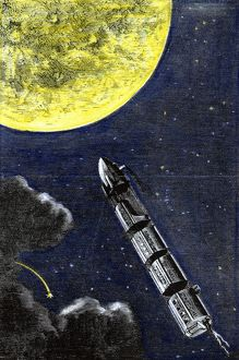 VERNE: FROM EARTH TO MOON. Colored engraving from a 19th-century edition of Jules