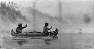 VERNER: CANOE ON RIVER. Two Native Americans paddling a canoe in the Canadian wilderness