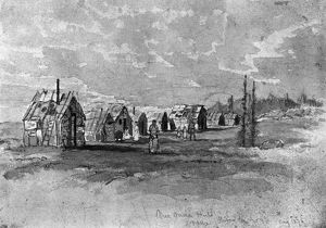 VERNER: MICMAC HUTS. Huts of Micmac Native Americans of eastern Canada. Graphite