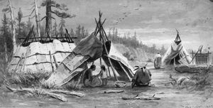 VERNER: OJIBWA WIGWAMS. Ojibwa wigwams on the shore of the Rainy River in western Ontario
