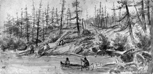 VERNER: PORTAGE. Native Americans portaging canoes to Spider Lake, on Vancouver Island