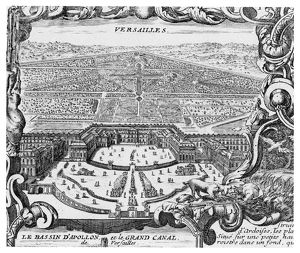 VERSAILLES, 1766. Engraved view of Versailles and its gardens from 'Nouveau Plan