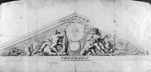 VERSAILLES: PEDIMENT, 1679. Study for the pediment of the Marble Court at Versailles