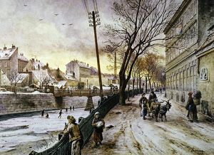 VIENNA: WINTER SCENE, 1888. A winter scene along the Reinprechts Bridge, Vienna: oil on canvas