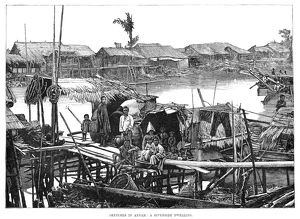 VIETNAM: RIVER, 1883. A Vietnamese family living on a river. Engraving, English, 1883