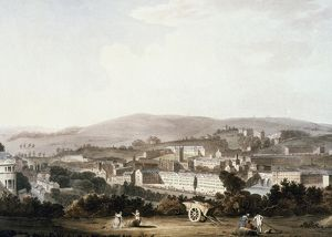 VIEW OF BATH, ENGLAND. Oil painting, early 19th century, by John Claude Nattes