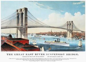 VIEW OF BROOKLYN BRIDGE. Lithograph, 1883, by Currier & Ives.
