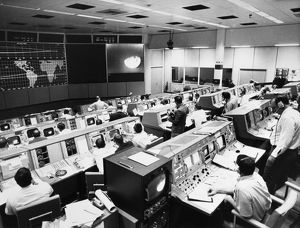 View of the Mission Operations Control Room at the Manned Spacecraft Center in Houston