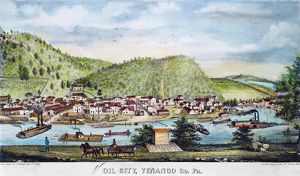 A view of Oil City, Pennsylvania, refining and shipping point of the early American