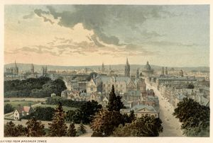 VIEW OF OXFORD. A view of Oxford from Magdalen Tower. Lithograph, c1885