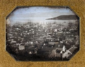 View of the San Francisco harbor. Daguerreotype, 1850 or 1851.