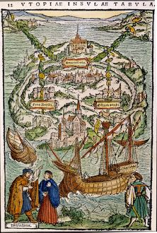 THE VIEW OF UTOPIA. Colored woodcut from Sir Thomas More's 'Utopia,' 1518.