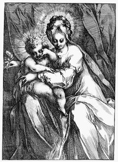 VIRGIN & CHILD. Etching by Jacques Bellange
