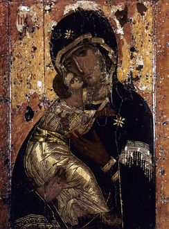 THE VIRGIN OF VLADIMIR. Russian icon painted at Constantinople, c1131.