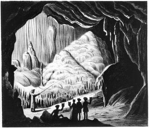 VIRGINIA: CAVE, 1856. Sightseers in the 'cataract' of Weyers Cave in the