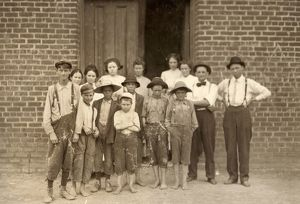 VIRGINIA: COTTON MILL, 1911. Boys outside of the Century Cotton Mill in South Boston