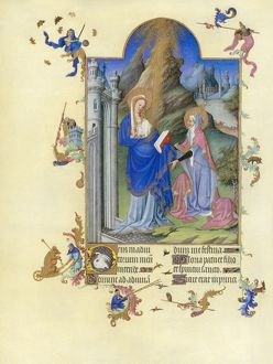 THE VISITATION. Illumination from the 15th century manuscript of the 'Tres Riches