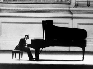 VLADIMIR HOROWITZ (1903-1989). American (Ukrainian-born) pianist, in concert at Carnegie Hall, April 1966.