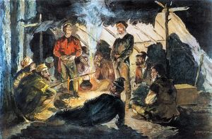 VOYAGEURS in Camp for the Night: illustration by Frederic Remington.