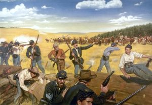 WAGON BOX FIGHT, 1867. The 9th Infantry of the U