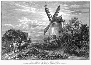 WALES: OLD MILL, 1872. Old mill at Ty Cross, North Wales