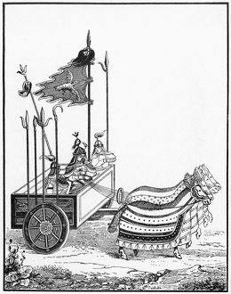 A war chariot of the type utilized by Genghis Khan's Chinese opponents